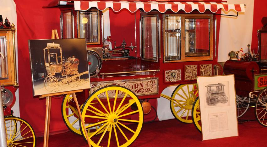 An antique popcorn museum is displayed in a circus tent at the Wyandot Popcorn Museum.