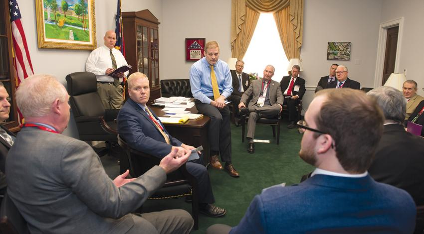U.S. Rep. Jim Jordan listens to a point during a meeting with leaders from Ohio electric cooperatives during the 2018 legislative conferences in Washington, D.C.