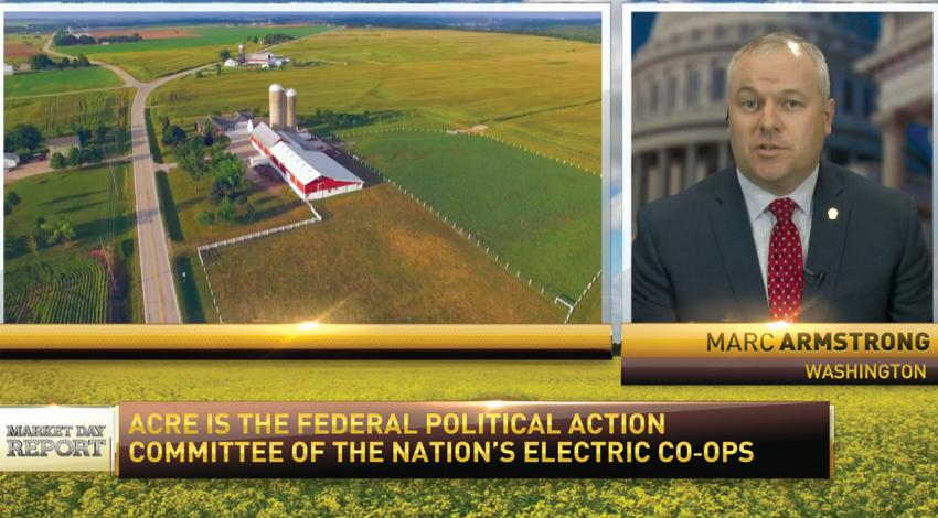 Marc Armstrong, director of government affairs for Ohio's Electric Cooperatives, appears on TV next to a landscape of a farm.